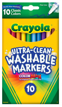 Crayola Ultra-Clean Washable Fine Line Markers - Classic 10 Count