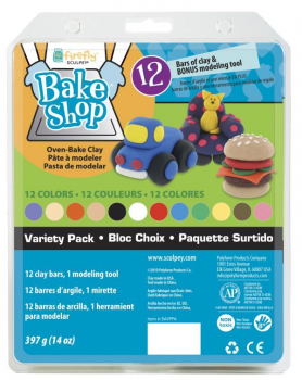 Sculpey Bake Shop Clay Variety Pack (12 Colors & Modeling Tool)