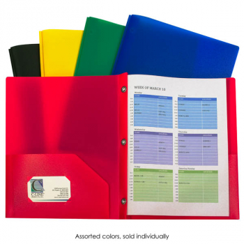 Two-Pocket Heavyweight Poly Portfolio Assorted, With Prongs