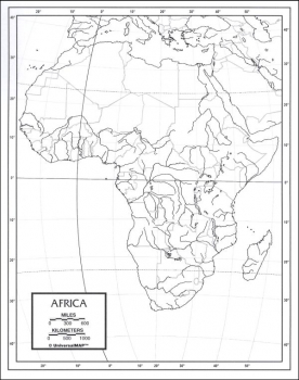 "Africa Map Laminated single (8+"" x 11"")"
