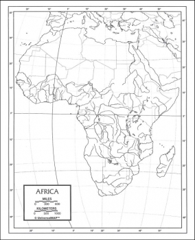 "Africa Map Paper single (8+"" x 11"")"