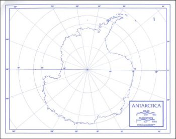 "Antarctica Map Paper single (8+"" x 11"")"