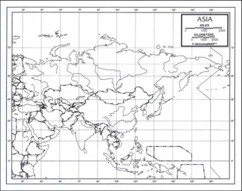 "Asia Map Laminated single (8+"" x 11"")"