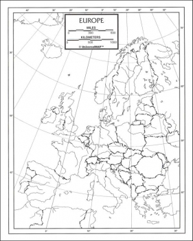 "Europe Map Paper single (8+"" x 11"")"