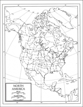 "North America Map Paper single (8+"" x 11"")"