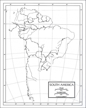 "South America Map Laminated single (8+"" x 11"""
