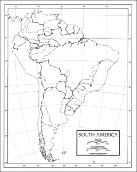 "South America Map Paper single (8+"" x 11"")"