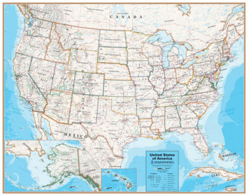 Hemispheres Contemporary United States Map