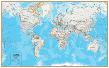 Hemispheres Contemporary World Wall Map