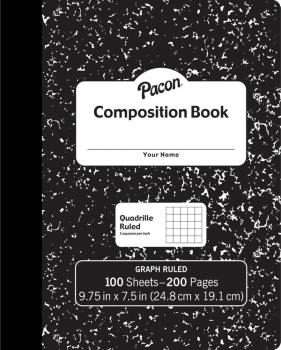 Composition Book Hard Cover, Graph Ruled (Quadrille Ruled), Black Marble (100 sheets)