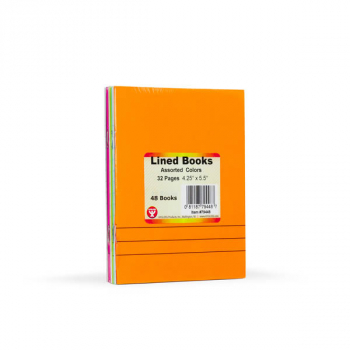 "Lined Blank Book - bright assorted colors (4.25"" x 5.5"")"