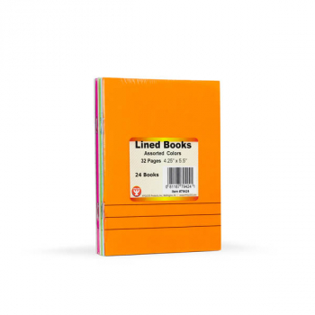 "Lined Blank Books - Bright Assorted Colors Package of 24 (4.25"" x 5.5"")"