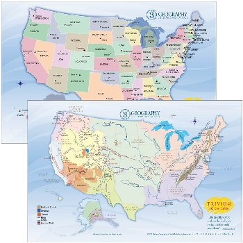 Trivium at the Table Placemats: Cycle 3 Geography - Set of 2 Maps
