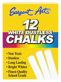 Dustless White Chalk - 12 Count