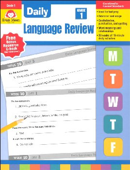 Daily Language Review Grade 1 Common Core Edition