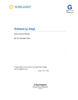 Sonlight Science Level G 4-Day Extra Activity Sheets (2018)
