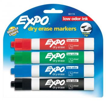 Chisel Point Expo Low Odor Markers card of 4