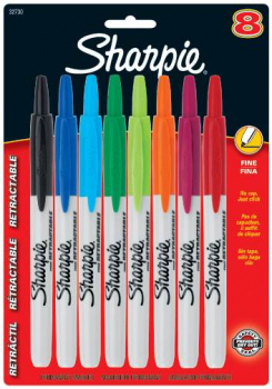 Fine Sharpie Retractable Set of 8 (Assorted Colors)