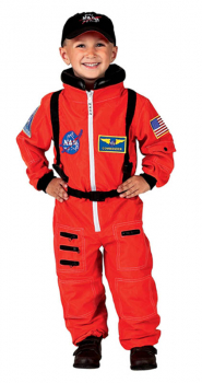 Jr. Astronaut Suit with Embroidered Cap - size 6/8 (Orange)
