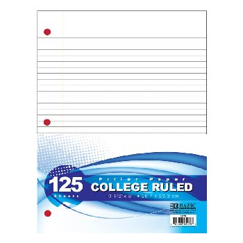 College Ruled Filler Paper (125 count)