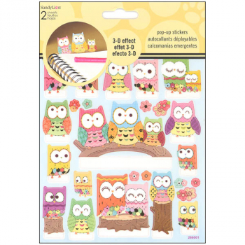 Owls Pop Up Stickers (2 Sheet)