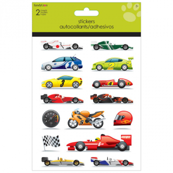 Race Cars Foldover Stickers