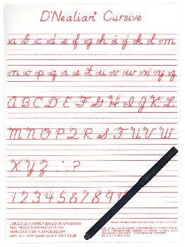 D'Nealian Cursive Write-on/Wipe-off Board