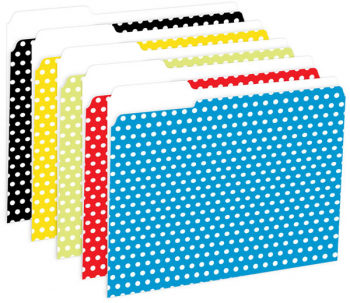 File Folders, Reversible, Polka Dot Assortment (package of 12)