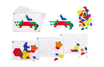 Pattern Blocks (set of 100, plastic .5 cm thick) with activity cards