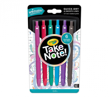 Crayola Take Note! Washable Gel Pens (6 count)