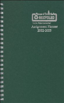 Student Assignment Planner Green Leatherette August 2020 - August 2021