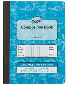 Dual Ruled Composition Book - Blue Cover (Grid & Wide)