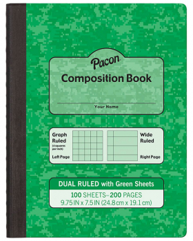 Dual Ruled Composition Book - Green Cover (Grid & Wide)