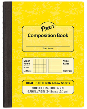 Dual Ruled Composition Book - Yellow Cover (Grid & Wide)