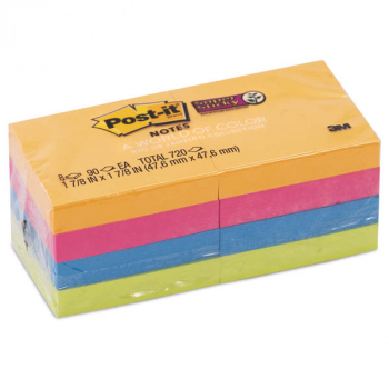 "Post-It Super Sticky Full Adhesive Notes - Bright Colors (2"" x 2"") 8 pads"