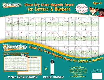 Visual Dry Erase & Magnetic Board for Letters and Numbers (2-Pack)