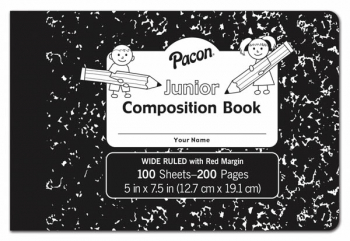 "Junior Composition Book (5"" x 7 1/2"") 100 sheets - wide ruled/Black Marble cover"