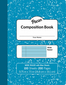 "Pacon Pastel Composition Book (9 3/4"" x 7 1/2"") 100 sheets - Blue Cover"