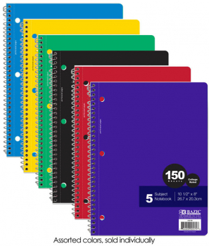 Spiral-Bound College Ruled 5-Subject Notebook 150 Sheets