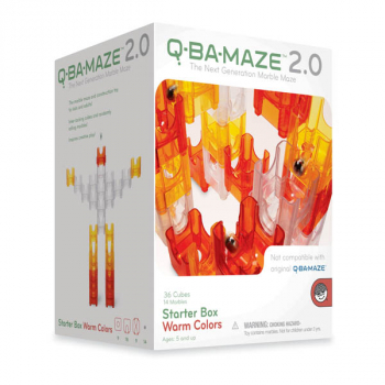 Q-Ba-Maze 50 Piece Starter Box Set - Warm Colors 2.0 (Red, Yellow, Clear)