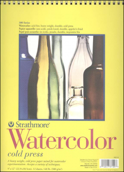 "Watercolor Pad, 9"" x 12"" - 12 Sheets (Strathmore 300 Series)"