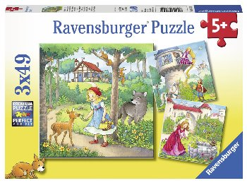 Rapunzel, Red Riding Hood, Frog King Puzzles (Three 49-piece puzzles)