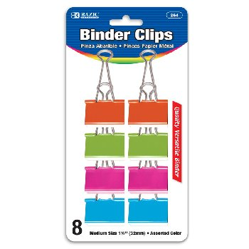 "Binder Clips (1 1/4"") 8/Pack - Medium, Assorted Pastel Colors"