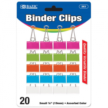 "Binder Clips (3/4"") 20 pack - Small Assorted Pastel Color"