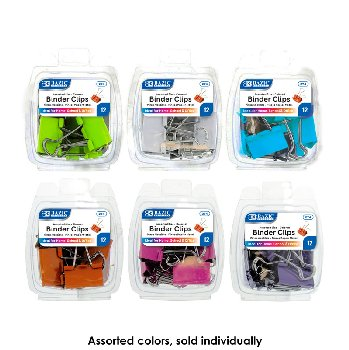 Binder Clips: Assorted Colors and Sizes (12/Pack)