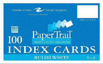 "White Ruled Index Cards 5"" x 8"" 100 cards/pack"