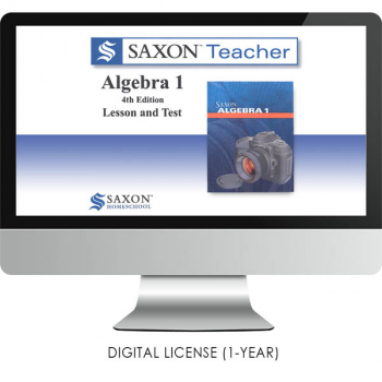 Saxon Math Homeschool Algebra 1 Teacher Digital License 1 Year Digital 4th Edition