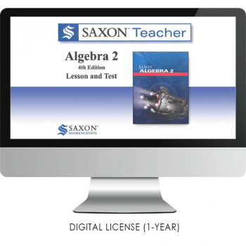 Saxon Math Homeschool Algebra 2 Teacher Digital License 1 Year Digital 4th Edition