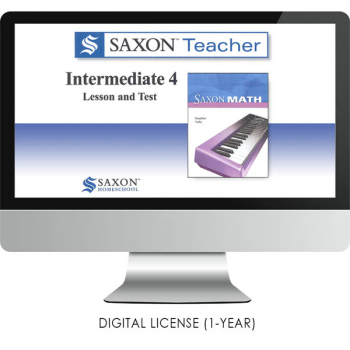 Saxon Math Homeschool Intermediate Teacher Digital License 1 Year Digital Level 4