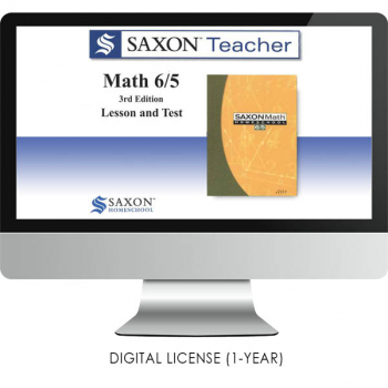 Saxon Math Homeschool Teacher Digital License 1 Year Digital Level 6/5 3rd Edition